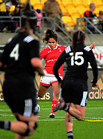 Magali Harvey takes a conversion attempt during the 2017 International Women's Rugby Series rugby match between the NZ Black Ferns and Canada at Westpac Stadium in Wellington, New Zealand on Friday, 9 June 2017. Photo: Dave Lintott / lintottphoto.co.nz