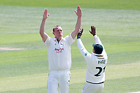 Luke Fletcher of Notts celebrates taking the wicket of Ryan ten Doeschate during Essex CCC vs Nottinghamshire CCC, Specsavers County Championship Division 1 Cricket at The Cloudfm County Ground on 15th May 2019
