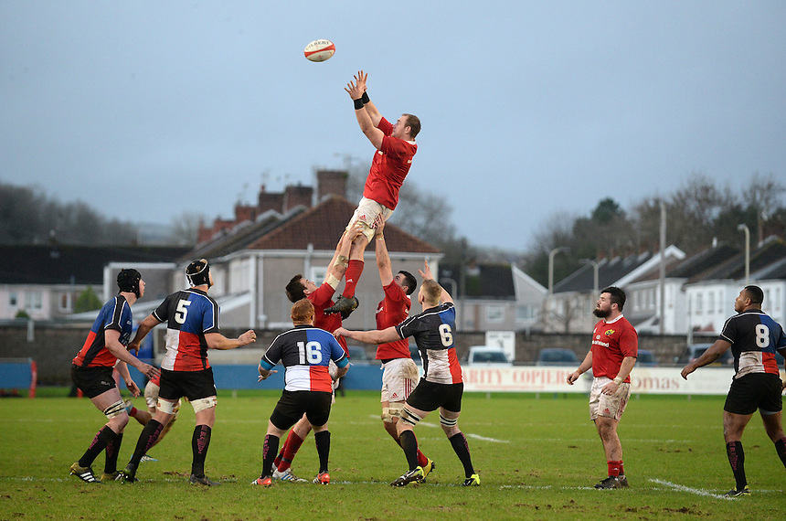 Munster A Shane Buckley claims the lineout <br /> <br /> Photographer Ian Cook/CameraSport<br /> <br /> Rugby Union - British and Irish Cup Pool 3 - Ospreys Premiership Select v Munster A - Sunday 20th December 2015 - Brewery Field, Bridgend<br /> <br /> &copy; CameraSport - 43 Linden Ave. Countesthorpe. Leicester. England. LE8 5PG - Tel: +44 (0) 116 277 4147 - admin@camerasport.com - www.camerasport.com