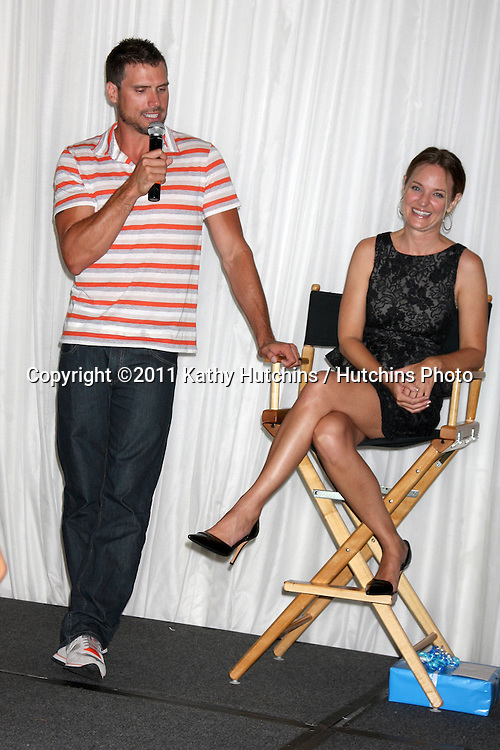 LOS ANGELES - AUG 27:  Joshua Morrow, Sharon Case attending the Daniel Goddard Fan Event 2011 at the Universal Sheraton Hotel on August 27, 2011 in Los Angeles, CA