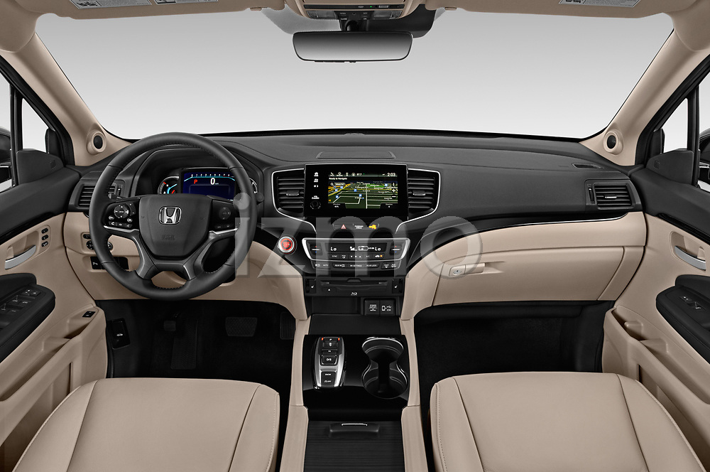Stock photo of straight dashboard view of a 2020 Honda Pilot Touring 5 Door SUV