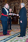 Presentation of credentials from Ambassadors to The King of Spain Juan Carlos I in the credentials room of the Royal Palace. In the picture Mr. Francisco Javier Ramirez Acu, Ambassador from United States of Mexico giving his credentials to to The King of Spain Juan Carlos I .June 21,2012. (ALTERPHOTOS/Ricky)