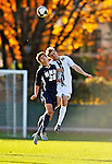 15 October 2008: University of New Hampshire Wildcats' forward Sean Coleman (20), a Freshman from Stratham, NH, battles University of Vermont Catamount backfielder Connor Tobin, a Senior from Fort Collins, CO at Centennial Field, in Burlington, Vermont. The Wildcats and Catamounts battled in overtime to a 0-0 tie...Mandatory Photo Credit: Ed Wolfstein Photo