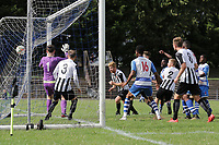 Ilford score their first goal to make the score 1-2 during Ilford vs Harwich & Parkeston, Emirates FA Cup Football at Cricklefields Stadium on 10th August 2019