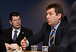Neil Doncaster listens as David Longmuir outlines his take on league reconstruction