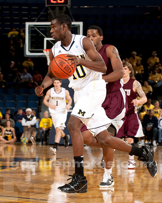University of Michigan men's basketball 64-44 victory over North Carolina Central at Crisler Arena in Ann Arbor, MI, on December 14, 2010. The Wolverines allowed a season low 44 points in the game and extended their win streak to five games.