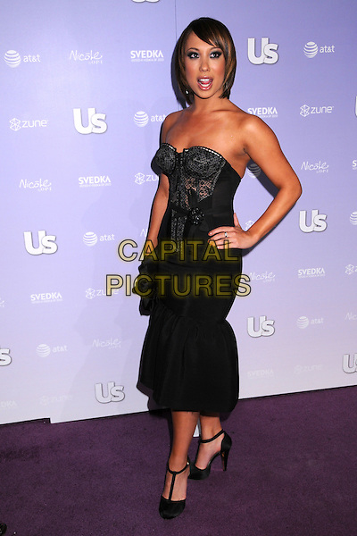 CHERYL BURKE.US Weekly's Hot Hollywood 2008 Party at Beso Restaurant, Hollywood, California, USA..April 17th, 2008.full length strapless t-bar shoes dress top skirt lace corset hand on hip .CAP/ADM/BP.©Byron Purvis/AdMedia/Capital Pictures.