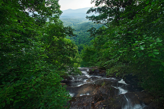 Amicalola Falls in summer, as viewed from the top, Amicalola Falls State Park, Georgia