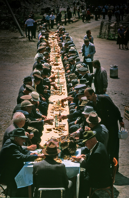 Feast after funeral in Caucasus region of southern Russia,