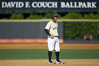 Christian Long (19) of the Wake Forest Demon Deacons takes his lead off of second base against the Virginia Cavaliers at David F. Couch Ballpark on May 19, 2018 in  Winston-Salem, North Carolina. The Demon Deacons defeated the Cavaliers 18-12. (Brian Westerholt/Four Seam Images)