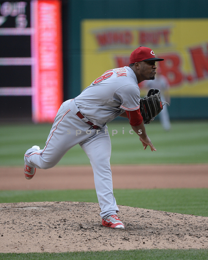 Cincinnati Reds Keyvius Sampson (48) during a game against the Washington Nationals on July 3, 2016 at Nationals Park in Washington DC. The Nationals beat the Reds 12-1.