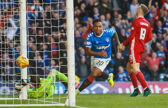 28.09.2018 Rangers v Aberdeen: Alfredo Morelos celebrates as he heads in the third goal fror Rangers past keeper Joe Lewis