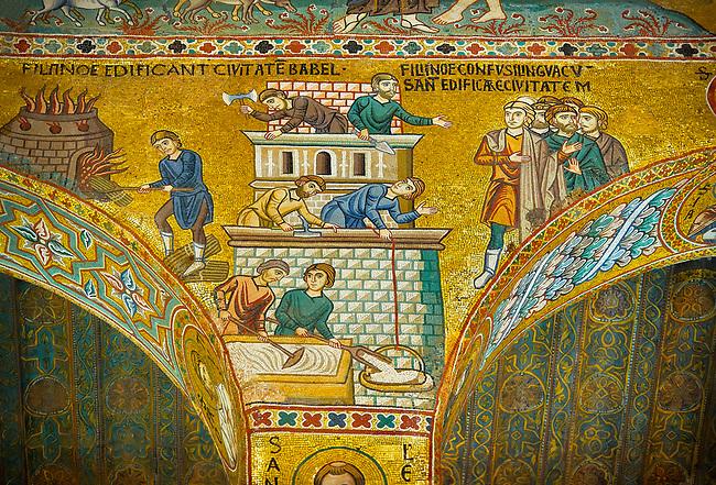 Medieval Byzantine style mosaics of the Bible story of building Babel Palatine Chapel, Cappella Palatina, Palermo, Italy
