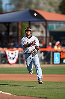 Visalia Rawhide third baseman Jose Caballero (7) during a California League game against the San Jose Giants on April 13, 2019 at San Jose Municipal Stadium in San Jose, California. Visalia defeated San Jose 4-2. (Zachary Lucy/Four Seam Images)