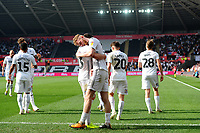 Oli McBurnie of Swansea City celebrates scoring his side's fourth goal during the Sky Bet Championship match between Swansea City and Rotherham United at the Liberty Stadium in Swansea, Wales, UK.  Friday 19 April 2019