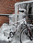 Melting snow off a roof results in a bicycle being encased in ice. (DOUG WOJCIK/STEVENS POINT JOURNAL)