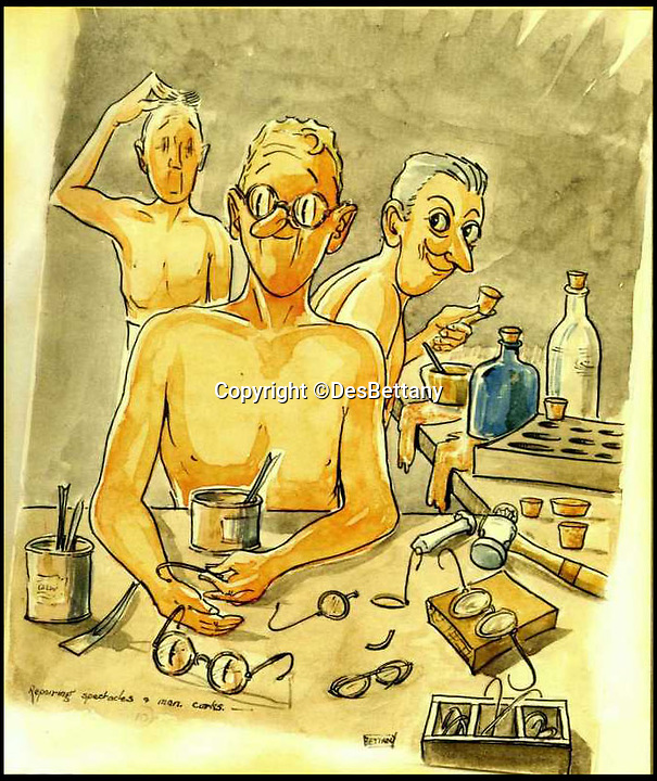 BNPS.co.uk (01202 558833)<br /> Pic: DesBettany/BNPS<br /> <br /> ***Please Use Full Byline***<br /> <br /> A hapeless Pow seen mixing up the job of repairing spectacles and manufacturing corks for hospitals. <br /> <br /> The family of a Prisoner of War who drew for his captured comrades are being inundated with his lost art work 70 years later after issuing an appeal to find it.<br /> <br /> Nearly 60 poignant paintings by the late Des Bettany have been found by the relatives of those who he served alongside in World War Two.<br /> <br /> The talented artist-turned-soldier spent three years in a Japanese PoW camp and created amusing cartoons which he often gave away to help keep up the morale of the men.<br /> <br /> His son Keith, 62, launched a website to help uncover his father's artistic legacy and has been astonished by the response from the families of PoWs around the world.