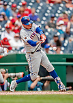 1 August 2018: New York Mets infielder Wilmer Flores at bat in the 4th inning against the Washington Nationals at Nationals Park in Washington, DC. The Nationals defeated the Mets 5-3 to sweep the 2-game weekday series. Mandatory Credit: Ed Wolfstein Photo *** RAW (NEF) Image File Available ***