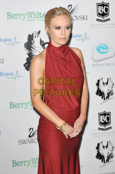 Michelle Dewberry.'Global Angels Awards', The Park Plaza Hotel, Westminster, London, England. 2nd December 2011..half length red halterneck make-up dress .CAP/MAR.© Martin Harris/Capital Pictures.