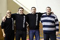 Mircea Nutescu kinetoterapeut, Mihai Coldea antrenor secund, Miljan Medvedj director tehnic, Dragan Petricevic antrenor Universitatea Cluj