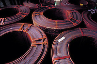 Stock pile of rolls of steel used in fabrication. Houston Texas.