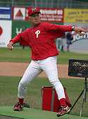 July 16, 2003:  Former Major League player, and coach Jim Morrison of the Batavia Muckdogs, Class-A affiliate of the Philadelphia Phillies, during a NY-Penn League game at Dwyer Stadium in Batavia, NY.  Photo by:  Mike Janes/Four Seam Images