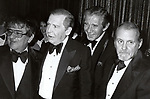 Buddy Hackett, Milton Berle, Jan Murray and Bob Fosse attends the Friars Club Roast for Buddy Hackett at the New York Hilton on November 1, 1981 in New York City.