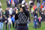 Rory McIlroy on the 18th in Saturday afternoon's foursomes at the 2010 Ryder Cup, Celtic Manor, Newport, Wales, Saturday 2nd October 2010..Picture Manus O'Reilly/www.golffile.ie