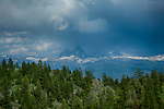 Idaho, Eastern, A view of the tetons from the Bighole Mountains in summer.