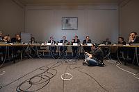Pressekonferenz der Berliner AfD am Donnerstag den 5. Januar 2017 zum Thema Sicherheit nach dem Anschlag im Dezember 2016 auf den Berliner Weihnachtsmarkt.<br /> Im Bild vlnr.: Thorsten Elsholtz, Pressesprecher der AfD Fraktion im Berliner Abgeordnetenhaus; Georg Pazderski, Fraktionsvorsitzender; Marc Vallendar, Mitglied des Innenausschusses; Hanno Bachmann, Mitglied des Innenausschusses.<br /> 5.1.2017, Berlin<br /> Copyright: Christian-Ditsch.de<br /> [Inhaltsveraendernde Manipulation des Fotos nur nach ausdruecklicher Genehmigung des Fotografen. Vereinbarungen ueber Abtretung von Persoenlichkeitsrechten/Model Release der abgebildeten Person/Personen liegen nicht vor. NO MODEL RELEASE! Nur fuer Redaktionelle Zwecke. Don't publish without copyright Christian-Ditsch.de, Veroeffentlichung nur mit Fotografennennung, sowie gegen Honorar, MwSt. und Beleg. Konto: I N G - D i B a, IBAN DE58500105175400192269, BIC INGDDEFFXXX, Kontakt: post@christian-ditsch.de<br /> Bei der Bearbeitung der Dateiinformationen darf die Urheberkennzeichnung in den EXIF- und  IPTC-Daten nicht entfernt werden, diese sind in digitalen Medien nach §95c UrhG rechtlich geschuetzt. Der Urhebervermerk wird gemaess §13 UrhG verlangt.]