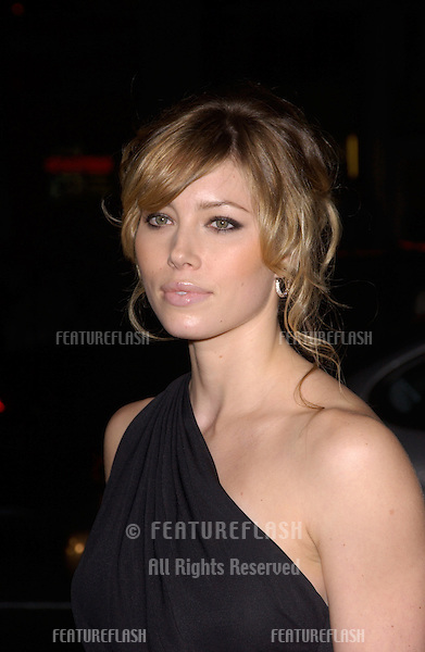 Dec 7, 2004; Los Angeles, CA: Actress JESSICA BIEL at the Los Angeles premiere of her new movie Blade: Trinity..
