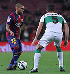 08.01.2014 Barcelona, Spain. Spanish Cup. Picture show Dani Alves in action during game between FC Barcelona against Elche at Camp Nou