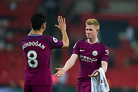 Manchester City's Kevin De Bruyne celebrates with team mate Ilkay Gundogan <br /> <br /> Photographer Craig Mercer/CameraSport<br /> <br /> The Premier League - Tottenham Hotspur v Manchester City - Saturday 14th April 2018 - Wembley Stadium - London<br /> <br /> World Copyright &copy; 2018 CameraSport. All rights reserved. 43 Linden Ave. Countesthorpe. Leicester. England. LE8 5PG - Tel: +44 (0) 116 277 4147 - admin@camerasport.com - www.camerasport.com