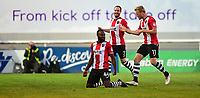 Exeter City's Hiram Boateng celebrates scoring his sides second goal with team-mates Ryan Harley, centre, and Jayden Stockley<br /> <br /> Photographer Chris Vaughan/CameraSport<br /> <br /> The EFL Sky Bet League Two Play Off Second Leg - Exeter City v Lincoln City - Thursday 17th May 2018 - St James Park - Exeter<br /> <br /> World Copyright &copy; 2018 CameraSport. All rights reserved. 43 Linden Ave. Countesthorpe. Leicester. England. LE8 5PG - Tel: +44 (0) 116 277 4147 - admin@camerasport.com - www.camerasport.com