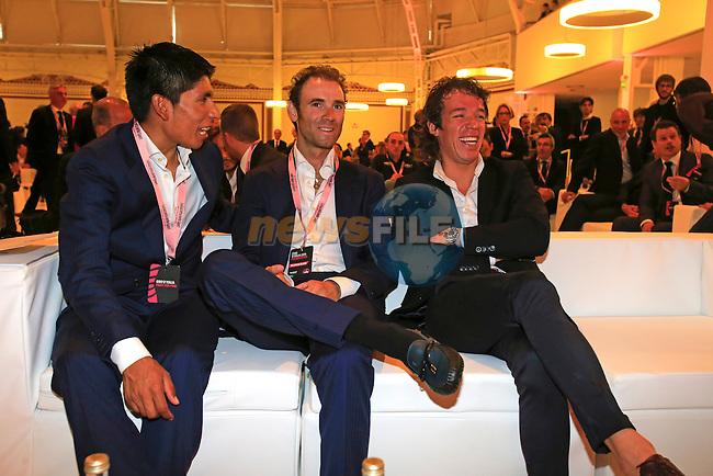 Nairo Alexander Quintana (COL), Alejandro Valverde (ESP) and Rigoberto Uran (COL) relax at the 2014 Giro d'Italia Presentation held in the Palazzo del Ghiaccio in Milan, Italy. 7th October 2013.<br /> (Photo: Eoin Clarke/www.newsfile.ie)