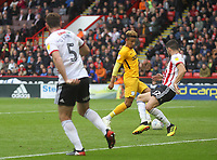 Preston North End's Callum Robinson scores his sides first goal  <br /> <br /> Photographer Mick Walker/CameraSport<br /> <br /> The EFL Sky Bet Championship - Sheffield United v Preston North End - Saturday 22 September 2018 - Bramall Lane - Sheffield<br /> <br /> World Copyright &copy; 2018 CameraSport. All rights reserved. 43 Linden Ave. Countesthorpe. Leicester. England. LE8 5PG - Tel: +44 (0) 116 277 4147 - admin@camerasport.com - www.camerasport.com