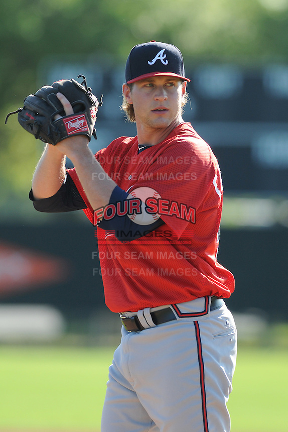 Pitcher David Carpenter (43) of the Atlanta Braves farm system in a Minor League Spring Training workout on Tuesday, March 17, 2015, at the ESPN Wide World of Sports Complex in Lake Buena Vista, Florida. (Tom Priddy/Four Seam Images)