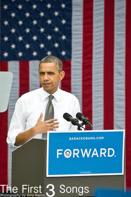 US President Barack Obama speaks during a campaign event at Eden Park September 17, 2012 in Cincinnati, Ohio.