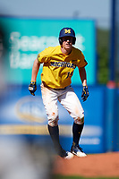 Michigan Wolverines third baseman Jimmy Kerr (15) leads off second base during a game against Army West Point on February 17, 2018 at Tradition Field in St. Lucie, Florida.  Army defeated Michigan 4-3.  (Mike Janes/Four Seam Images)