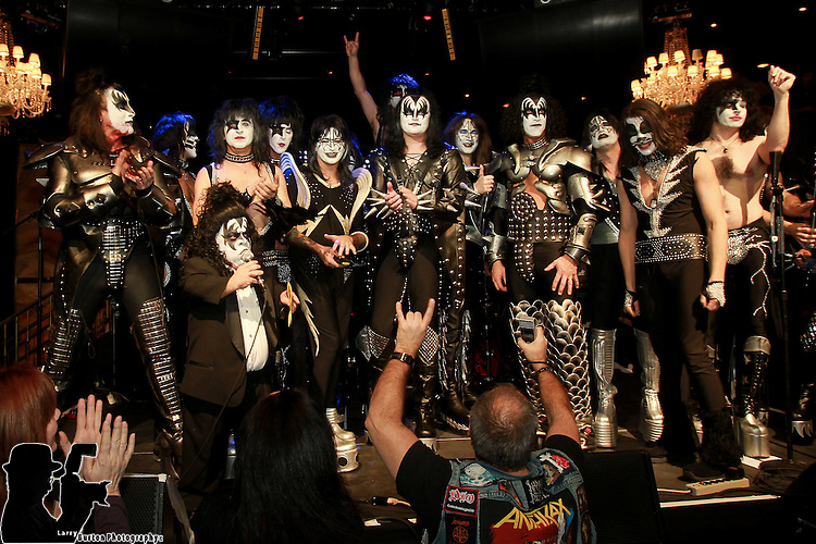 """Las Vegas Jan 29 2012: The Final 4 bands performed in a Kiss Off Body English in the Hard Rock Hotel,  Winning band MR Speed, """"America KISS Tribute, (Ohio)  runner ups KISSteria, (Australia) Forever KISS (Hungary) Rock and Roll Over (Texas)"""