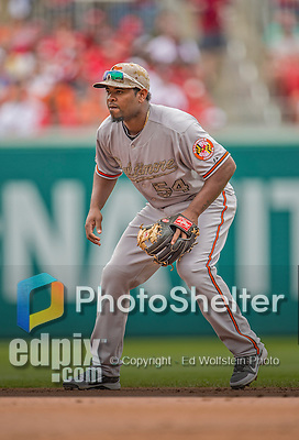 27 May 2013: Baltimore Orioles infielder Yamaico Navarro in action against the Washington Nationals at Nationals Park in Washington, DC. The Orioles defeated the Nationals 6-2, taking the Memorial Day, first game of their interleague series. Mandatory Credit: Ed Wolfstein Photo *** RAW (NEF) Image File Available ***