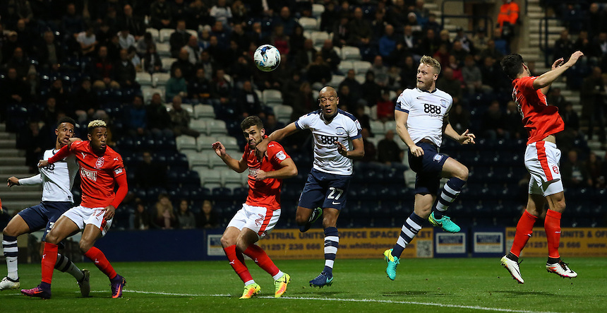 Preston North End's Tom Clarke scores his sides first goal  with a header <br /> <br /> Photographer Alex Dodd/CameraSport<br /> <br /> The EFL Sky Bet Championship - Preston North End and Huddersfield Town - Wednesday 19th October 2016 - Deepdale - Preston<br /> <br /> World Copyright &copy; 2016 CameraSport. All rights reserved. 43 Linden Ave. Countesthorpe. Leicester. England. LE8 5PG - Tel: +44 (0) 116 277 4147 - admin@camerasport.com - www.camerasport.com
