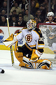 February 17th 2007:  Tim Thomas (30) of the Boston Bruins looks for the rebound after a shot vs. the Buffalo Sabres at HSBC Arena in Buffalo, NY.  The Bruins defeated the Sabres 4-3 in a shootout.