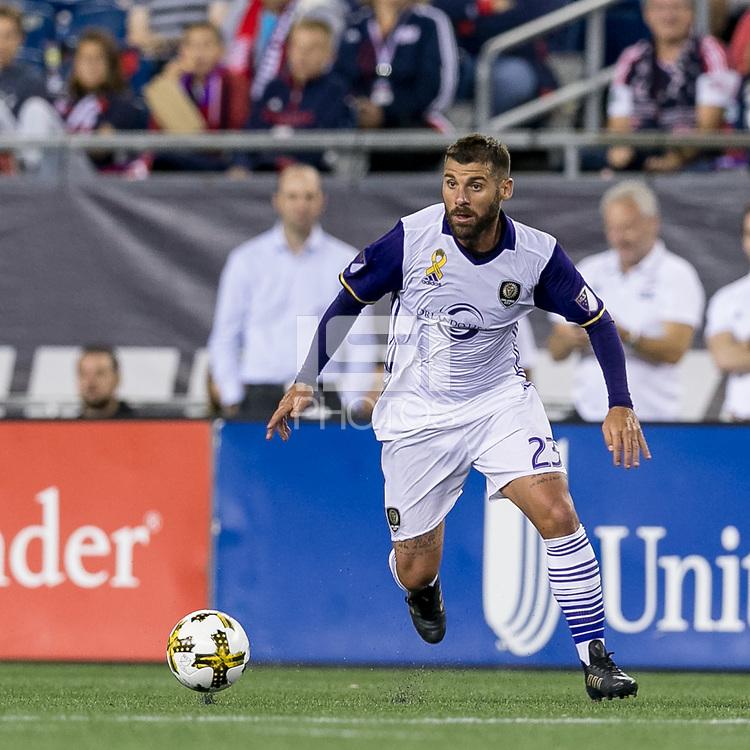 Foxborough, Massachusetts - September 2, 2017: In a Major League Soccer (MLS) match, New England Revolution (blue/white) defeated Orlando City SC (white), 4-0, at Gillette Stadium.