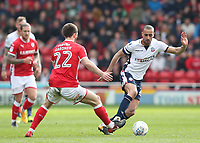 Bolton Wanderers' Darren Pratley and Barnsley's Gary Gardner<br /> <br /> Photographer Rachel Holborn/CameraSport<br /> <br /> The EFL Sky Bet Championship - Barnsley v Bolton Wanderers - Saturday 14th April 2018 - Oakwell - Barnsley<br /> <br /> World Copyright &copy; 2018 CameraSport. All rights reserved. 43 Linden Ave. Countesthorpe. Leicester. England. LE8 5PG - Tel: +44 (0) 116 277 4147 - admin@camerasport.com - www.camerasport.com