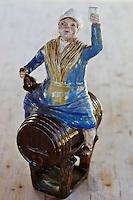 Europe/France/Normandie/Basse-Normandie/50/Batenton: Maison de la Pomme et de la Poire - Détail Bacchus sur un tonneau //   France, Manche, Batenton, House of the Apple and Pear Cider apples Exhibition , Bacchus detail on a barrel