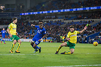 Omar Bogle of Cardiff City scores his side's third goal during the Sky Bet Championship match between Cardiff City and Norwich City at the Cardiff City Stadium, Cardiff, Wales on 1 December 2017. Photo by Mark  Hawkins / PRiME Media Images.
