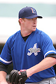 July 14th, 2007:  Jon Leicester of the Aberdeen Ironbirds, Class-A Short-Season affiliate of the Baltimore Orioles, throws in the bullpen before a game vs the Jamestown Jammers in New York-Penn League action while on rehab assignment.  Photo Copyright Mike Janes Photography 2007.