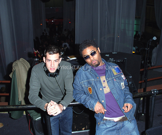 Ford Thunderbird, Conde Nast Publications and Fairchild Publications support New York Fashion Cares initiative in celebration of designs inspired by the American dream car. Pictured are celebrity DJ MARK RONSON and singer MUSIQ SOULCHILD. Hammerstein Ballroom, New York. January 13, 2002. © 2002 by Alecsey Boldeskul/NY Photo Press.   ..*ONE-TIME REPRODUCTION RIGHTS*      ....NY Photo Press:  ..phone (646) 267-6913;   ..e-mail: info@nyphotopress.com