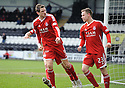 ABERDEEN'S SCOTT VERNON CELEBRATES AFTER HE SCORES ABERDEEN'S FIRST